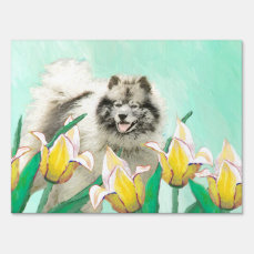 Keeshond in Tulips Sign