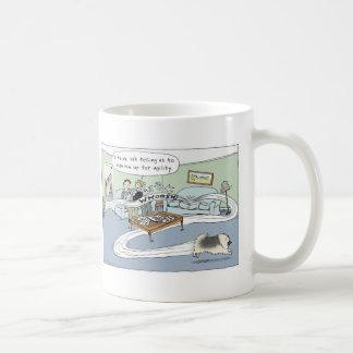 "Keeshond ""Livingroom Agility"" Cartoon Classic White Coffee Mug"