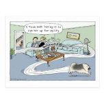 """Keeshond """"Livingroom Agility"""" Cartoon Postcard"""