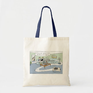 "Keeshond ""Livingroom Agility"" Cartoon Tote Bag"