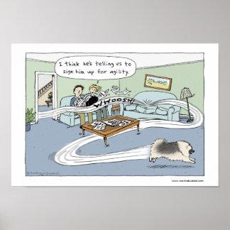 """Keeshond """"Livingroom Agility"""" Print"""