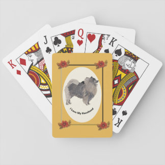 Keeshond on Autumn Floral Playing Cards