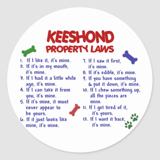 KEESHOND Property Laws 2 Round Stickers