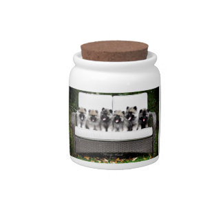 Keeshond puppies candy jars