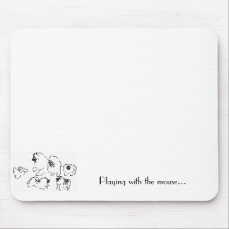 keeshond puppies playing with mouse mouse pad