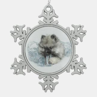 Keeshond Puppy Snowflake Ornament