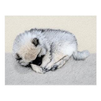 Keeshond Sleeping Puppy Painting - Original Dog Ar Postcard