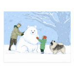 Keeshond Snow Dog Post Cards
