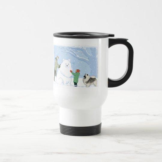 Keeshond Snow Dog Travel Mug