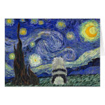 Keeshond Starry Night Greeting Card