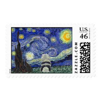 Keeshond Starry Night Postage