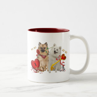 Keeshond Valentine Twosome Gifts Two-Tone Coffee Mug