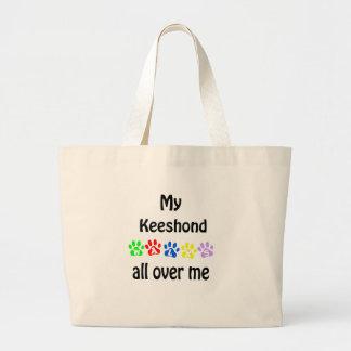 Keeshond Walks Design Large Tote Bag