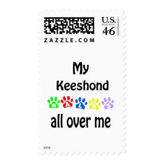 Keeshond Walks Design Postage Stamp