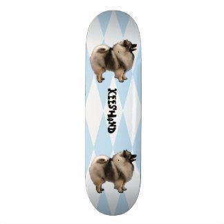 Keeshond, White Diamonds on Blue Skateboard