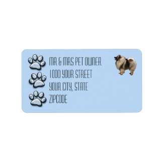 Keeshond with 3 Blue Pawprints Label