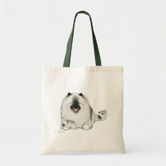 Keeshond with Puppies Tote Bags