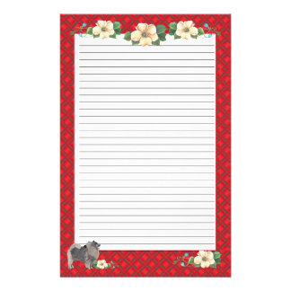 Keeshond with Red Ribbon Floral [Lined] Stationery