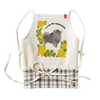 Keeshond with Yellow Roses Zazzle HEART Apron