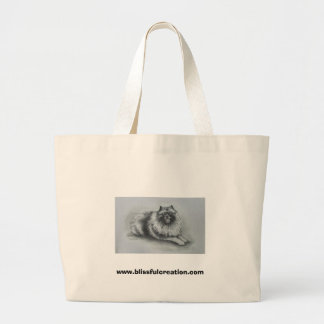 keeshond www.blissfulcreation.com large tote bag