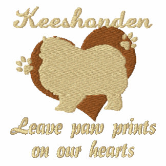 Keeshonden Leave Paw Prints Embroidered Shirt
