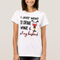 Keeshonds and Wine Funny Keeshond Dog Gifts T-Shirt