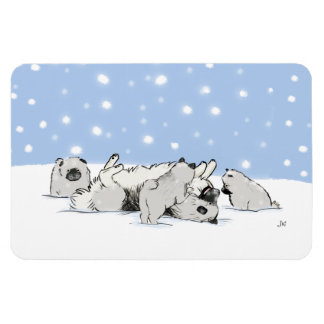 Keesie Snow Dogs - Happy Keeshond with Puppies Rectangular Photo Magnet