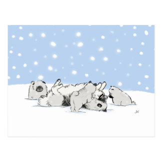 Keesies Playing in the Snow Postcard