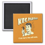 Keg Parties: If Tap It They'll Come 2 Inch Square Magnet