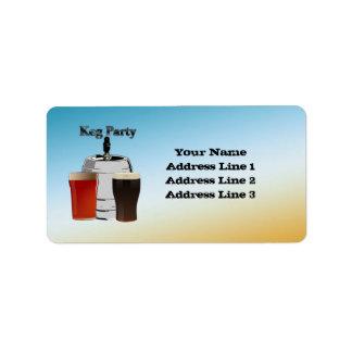Keg Party Invitation Address Labels