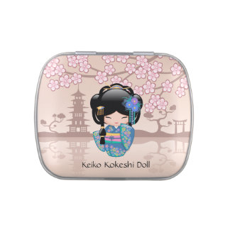 Keiko Kokeshi Doll - Blue Kimono Geisha Girl Candy Tin