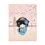 Keiko Kokeshi Doll - Blue Kimono Geisha Girl Canvas Print