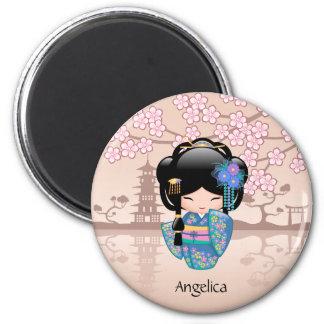 Keiko Kokeshi Doll - Blue Kimono Geisha Girl Magnet