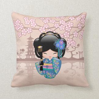 Keiko Kokeshi Doll - Blue Kimono Geisha Girl Throw Pillow