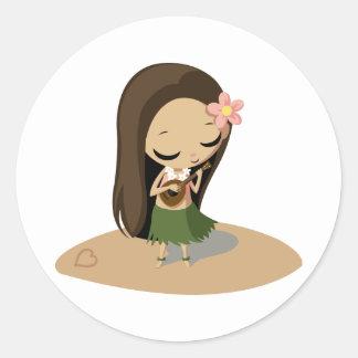 Keilana the Hula Girl Classic Round Sticker