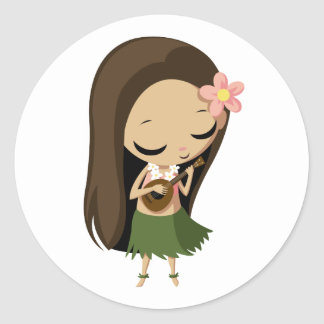 Keilana the Hula Girl Classic Round Sticker