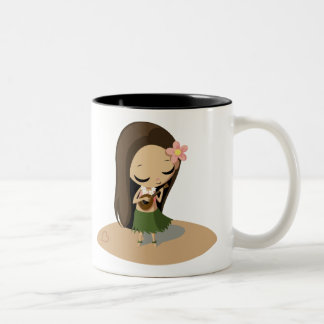 Keilana the Hula Girl Two-Tone Coffee Mug