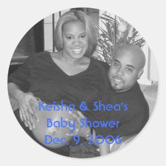 KeiShea, Keisha & Shea's Baby Shower Dec. 9, 2006 Classic Round Sticker