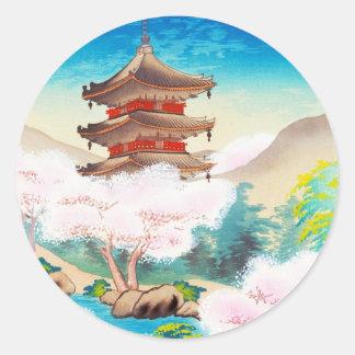 Keisui Pagoda in Spring japanese oriental scenery Classic Round Sticker
