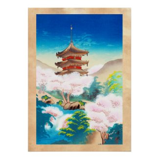 Keisui Pagoda in Spring japanese oriental scenery Poster