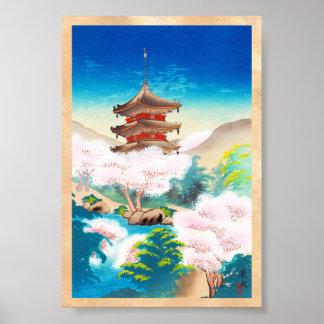 Keisui Pagoda in Spring japanese oriental scenery Posters