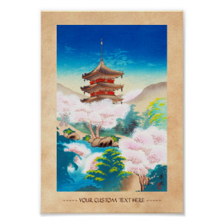 Keisui Pagoda in Spring japanese oriental scenery Print