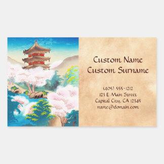 Keisui Pagoda in Spring japanese oriental scenery Rectangular Sticker