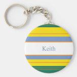 Keith Classic Stripes Basic Round Button Keychain