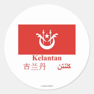 Kelantan flag with name classic round sticker
