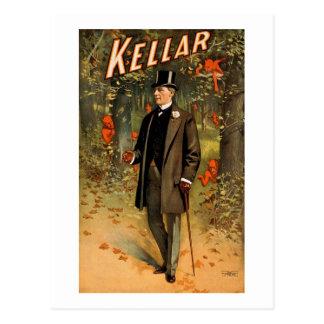Kellar el mago con los diablos - anuncio del postal