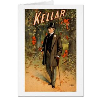 Kellar el mago con los diablos - anuncio del vinta tarjeta de felicitación