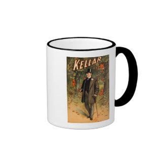 Kellar el mago con los diablos - anuncio del vinta taza a dos colores