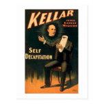 Kellar el mago - degollación del uno mismo - vinta tarjetas postales
