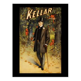 Kellar in the woods with demons postcard